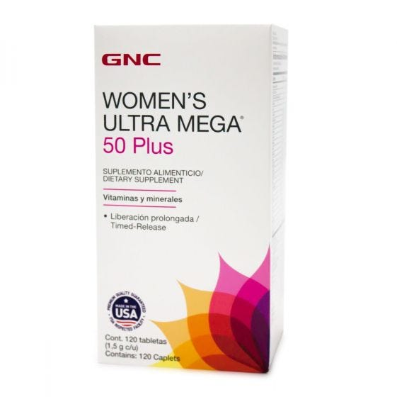 GNC Women's Ultra Mega 50 Plus Multivitamínico - 120 Tabletas