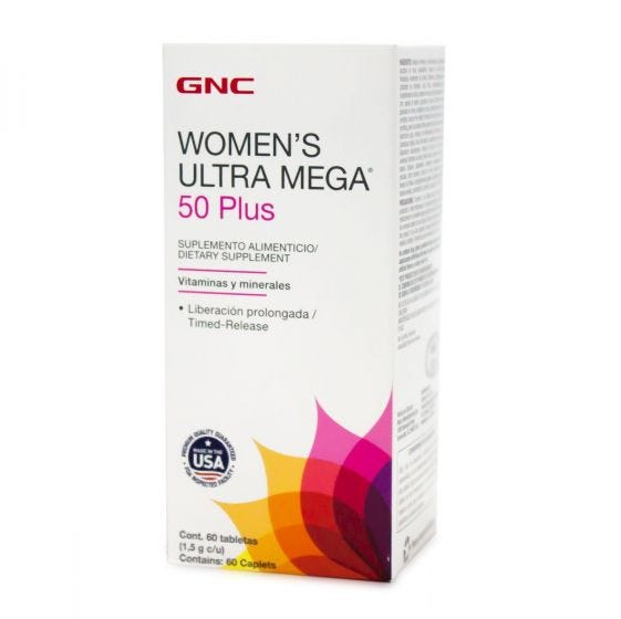 GNC Women's Ultra Mega 50 Plus Multivitamínico - 60 Tabletas