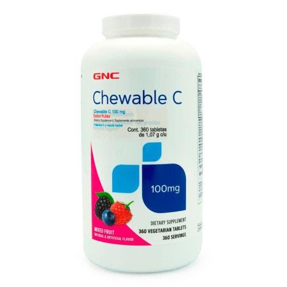 GNC Vitamina C Masticable 100 mg Frutas - 360 Tabletas