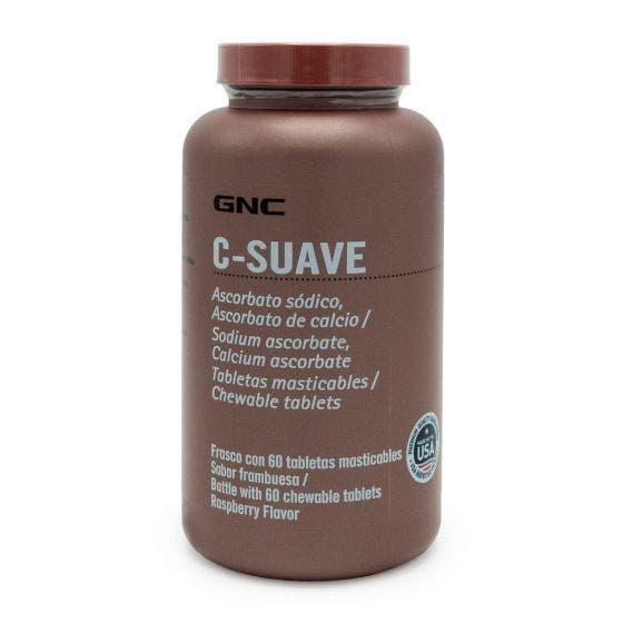 GNC C-SUAVE Vitamina C Masticable Frambuesa - 60 Tabletas
