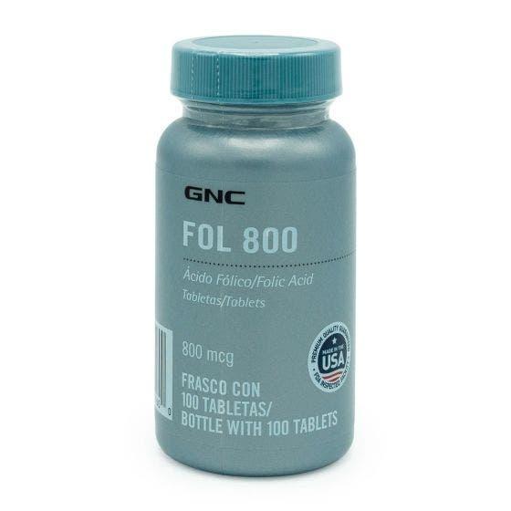 GNC FOL 800 Ácido Fólico 800 mcg - 100 Tabletas