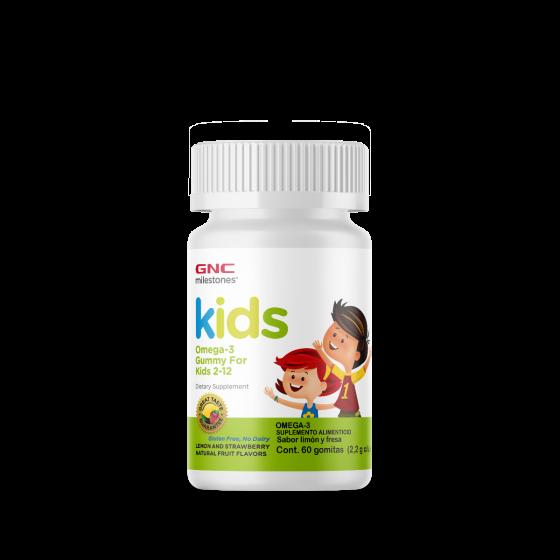 GNC Milestones Gomitas Omega-3 para niños Limón y Fresa - 60 Gomitas