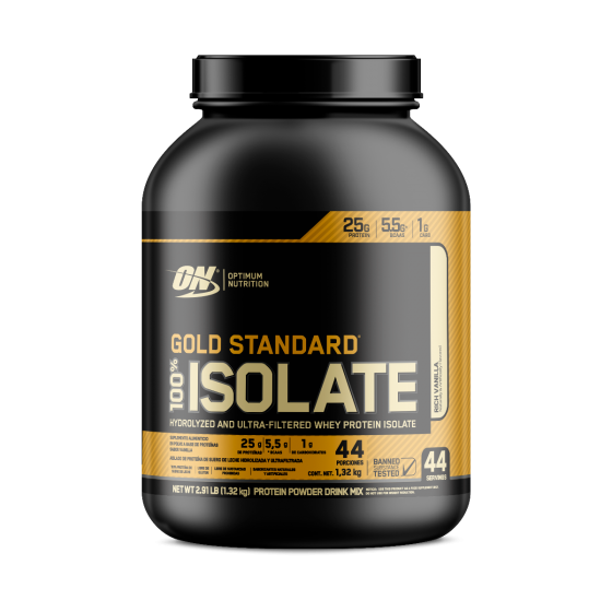 Optimum Nutrition Gold Standard 100% Isolate Proteína aislada de suero de leche hidrolizada Vainilla - 2.91 lb