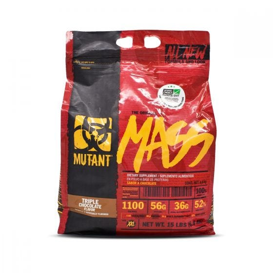 Mutant Mass Mezcla de Proteínas alto en carbohidratos Chocolate - 15 lbs