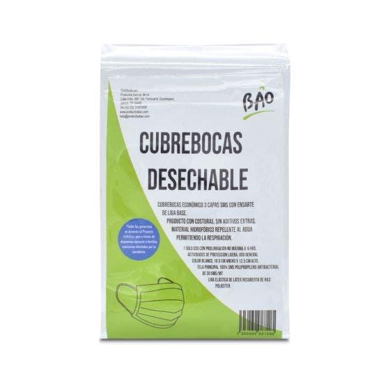 BAO Cubrebocas Quirúrgico Desechables 3 capas - 10 pzas