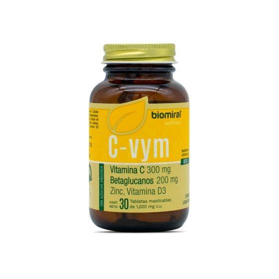 Biomiral C-VYM Vitamina C, Betaglucanos, Zinc y Vitamina D3 Masticable Naranja30 caps