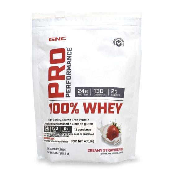 GNC Pro Performance 100 % Whey Proteína de suero de leche Fresa - 405.6 gr