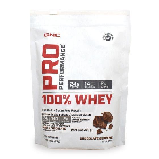GNC Pro Performance 100 % Whey Proteína de suero de leche Chocolate - 1 lb
