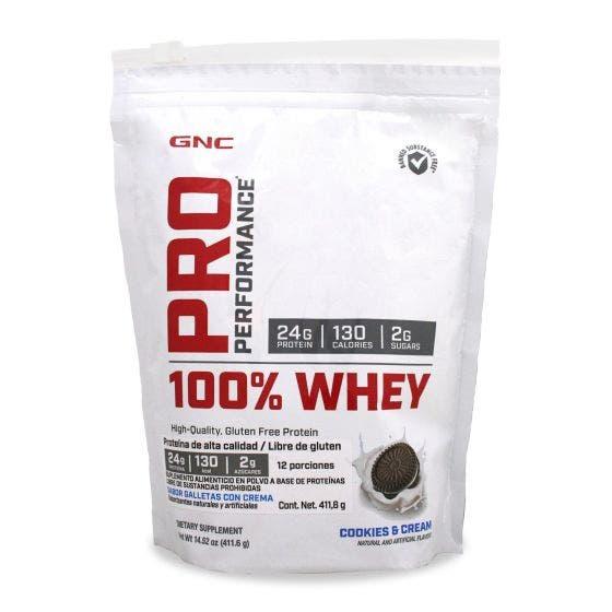 GNC Pro Performance 100 % Whey Proteína de suero de leche Galletas con Crema - 411.6 gr