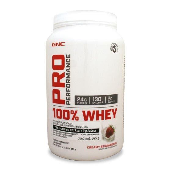 GNC Pro Performance 100 % Whey Proteína de suero de leche Fresa - 845 grs