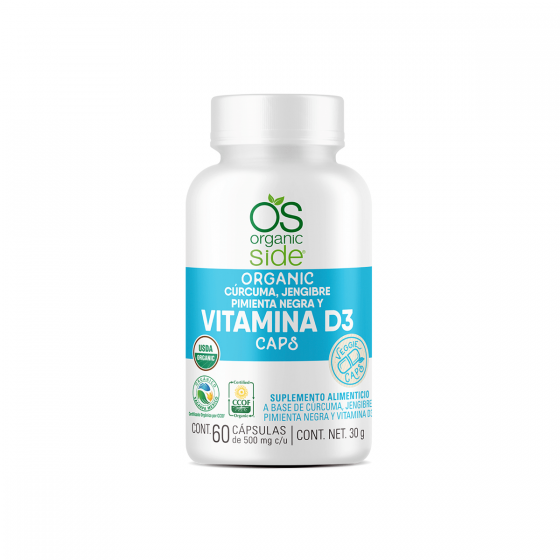 Organic Side Vitamina D3 400 UI con Cúrcuma jengible y pimienta negra - 60 Caps